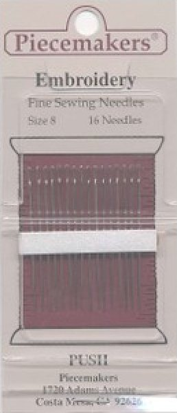 Piecemakers Embroidery Needles  size 8   16 needles