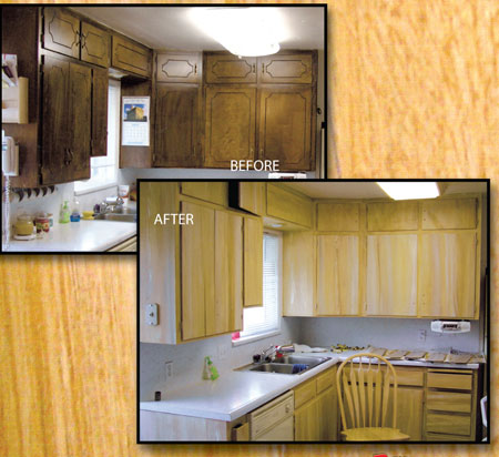 Before And After Picture Of Dark Cabinets Woodgrained To A Lighter Color