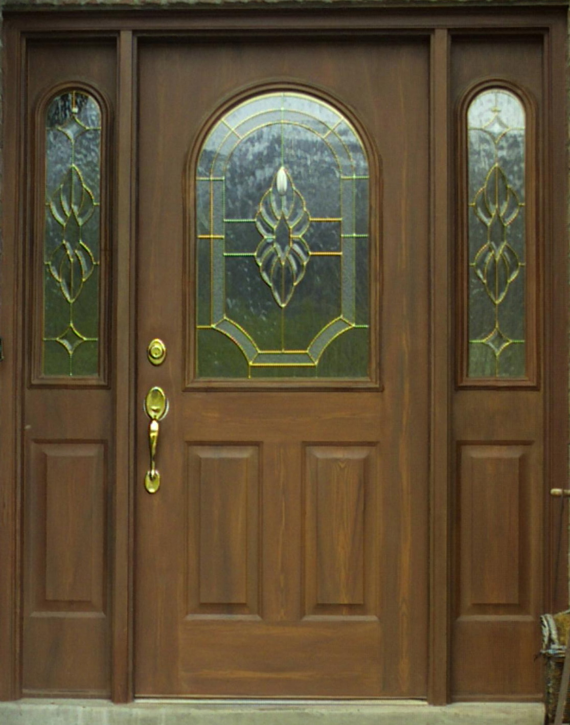 1418 #644B2D Woodgrained Door Closeup Of Woodgrain Door Side View Of Door save image Steel Front Doors 40871115