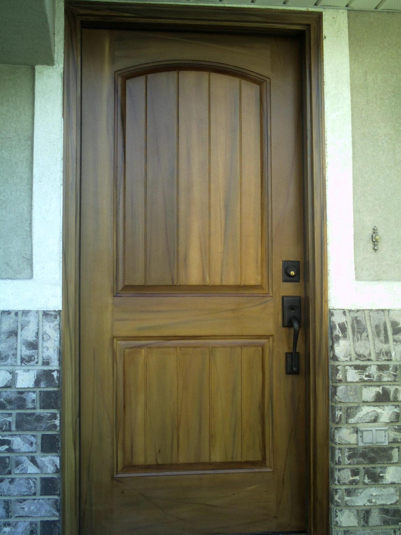 woodgrained walnut fruitwood front door