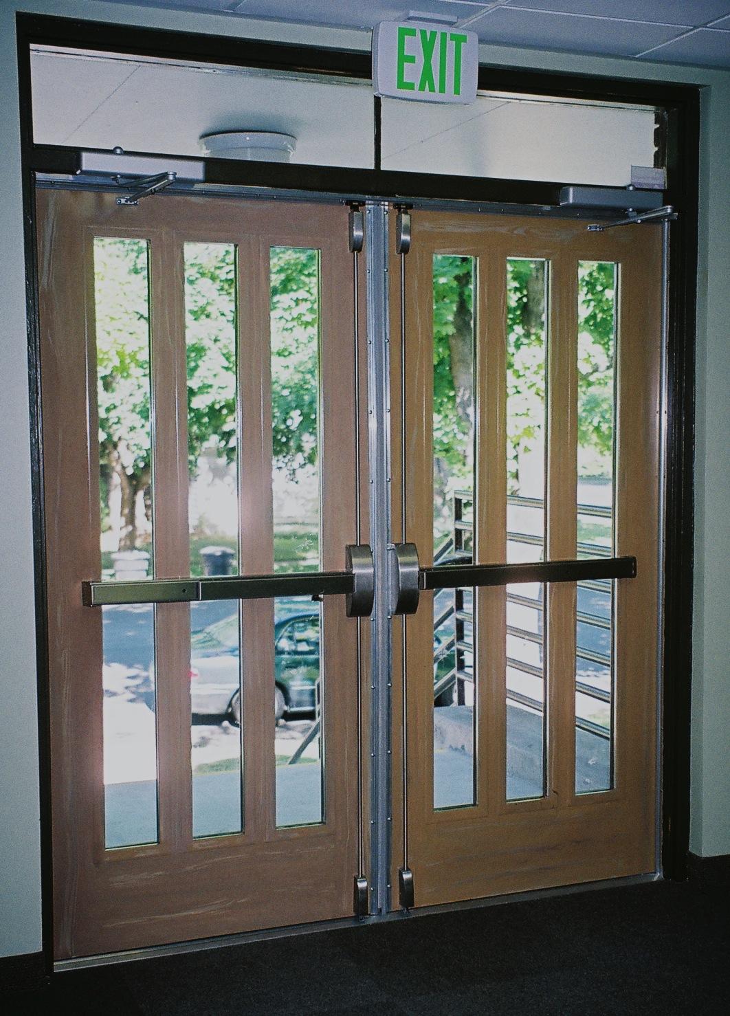 Commercial exterior glass doors - Commercial Metal Interior Doors Metal Wood Grained Door