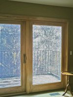 Front view of interior hickory patio doors