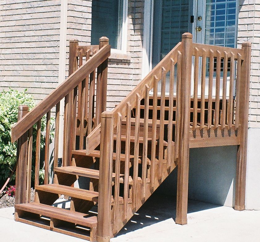 Stained redwood decks for Redwood deck plans