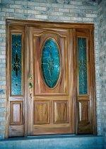 Close up view of fiberglass door with side panels