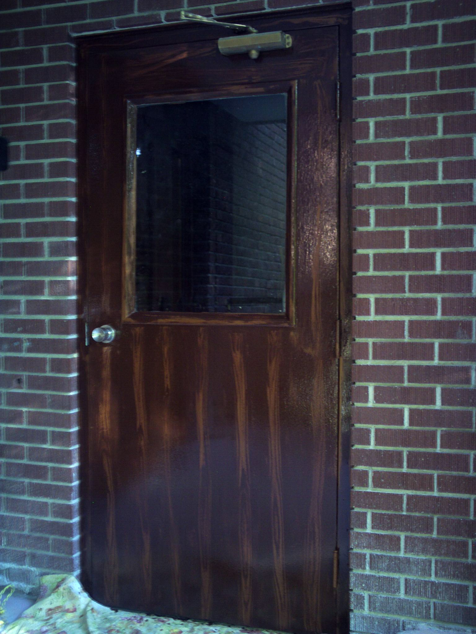 The picture on the left shows utility door has a colored undercoat. The door on the right shows the finished woodgrained door. The building was remodeled & COMMERCIAL UTILITY DOOR Pezcame.Com