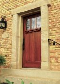 Red mahogany woodgrained door from right side.
