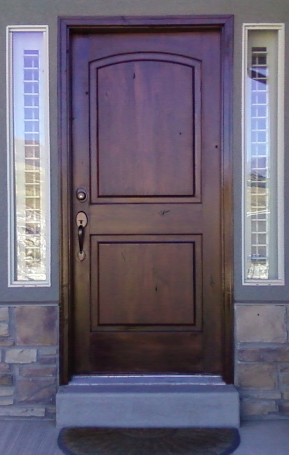 The Original Finish Of This Front Wood Entrance Door Was Damaged And Baked  From The Sun. The Door Faces South.