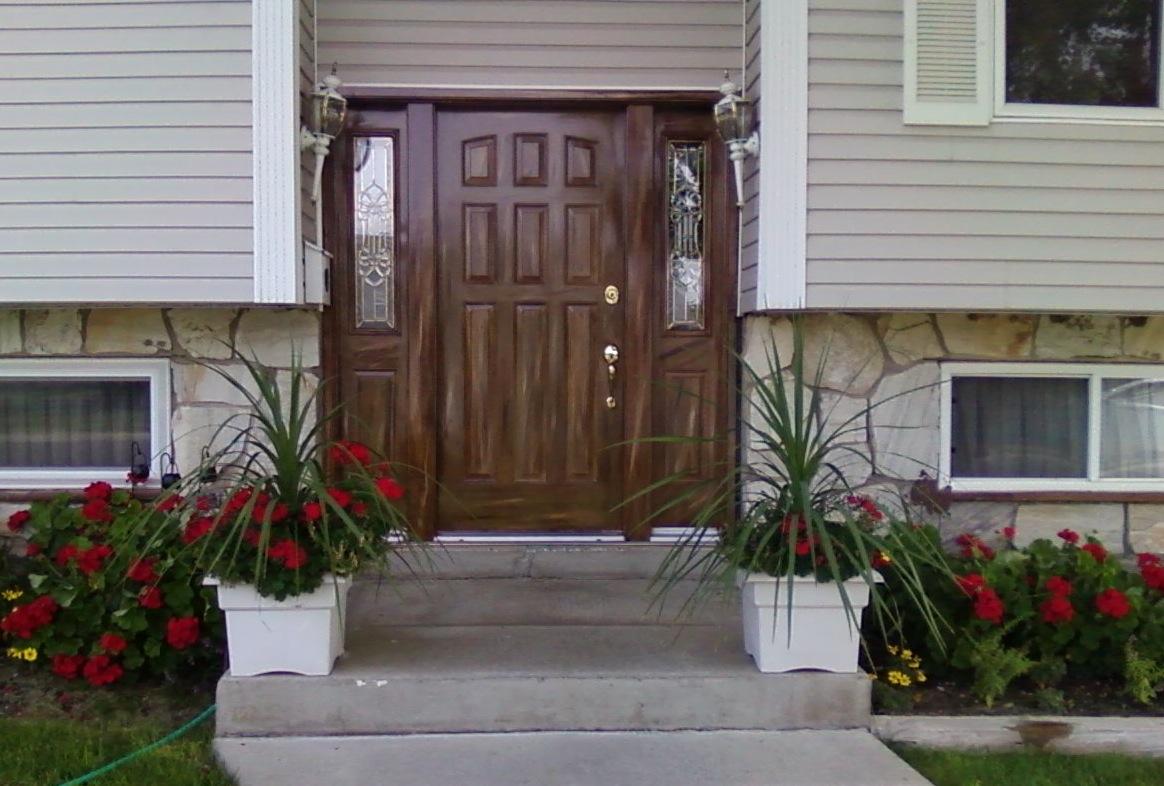 Woodgrained Exterior Nine Panel Metal Door Side Panels