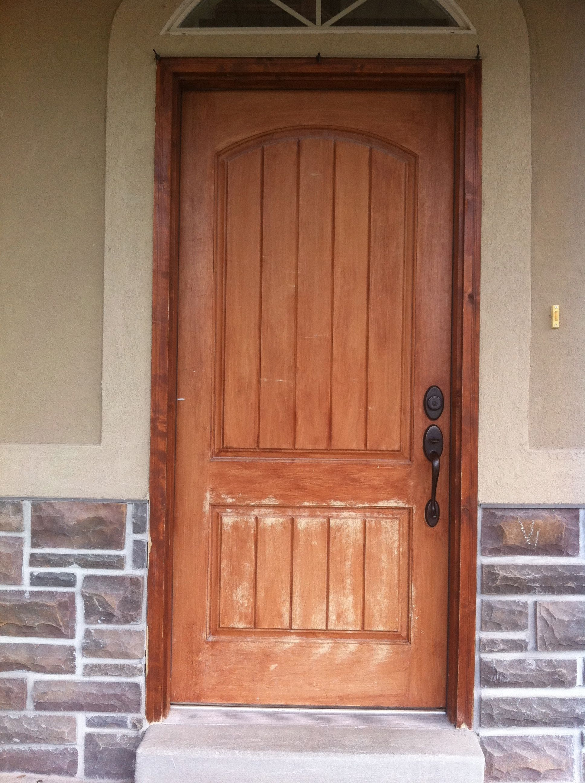 Exterior fiberglass doors that have been wood grained or for Faux wood front doors