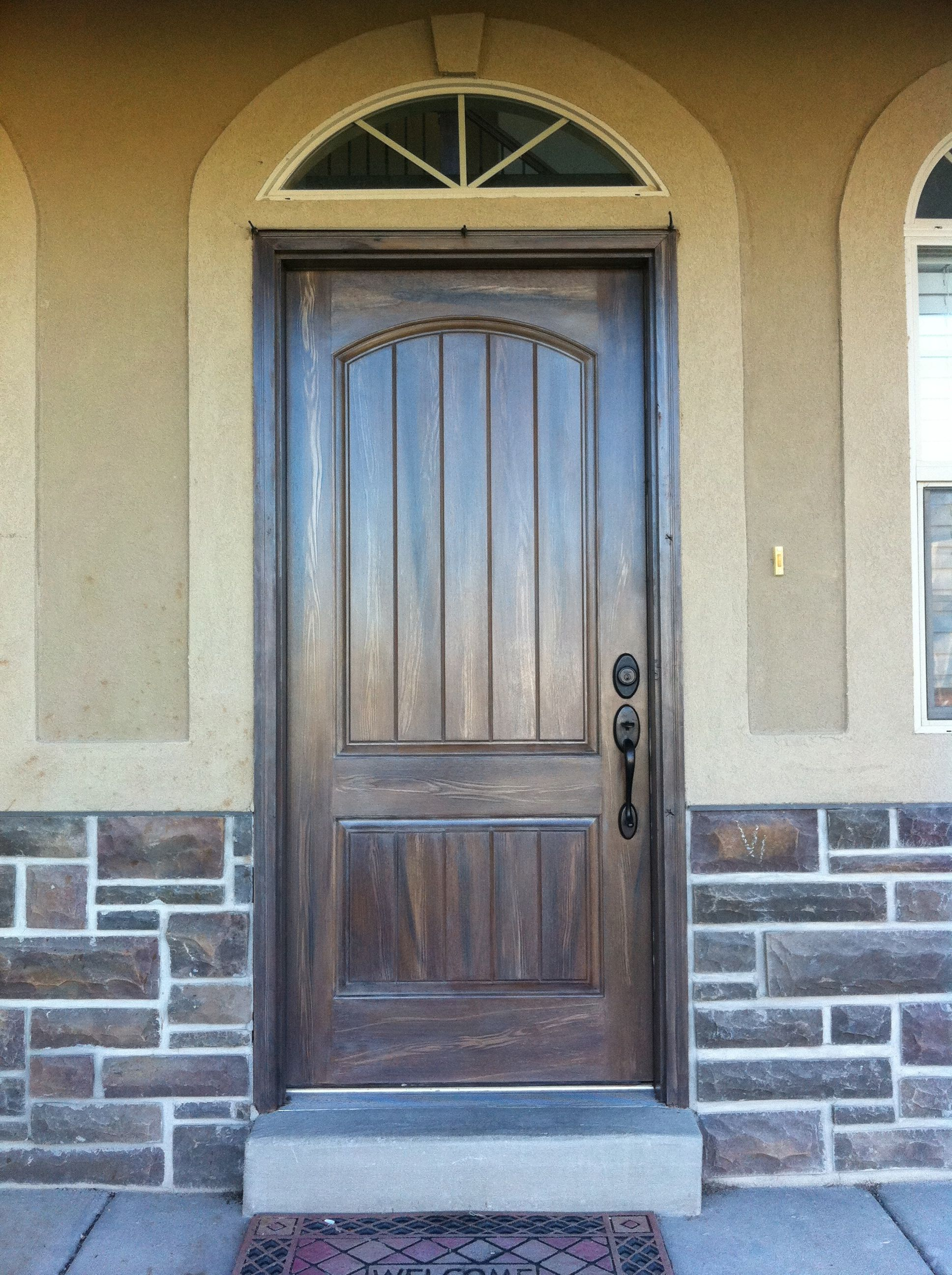 Exterior fiberglass doors that have been wood grained or faux finished to match the exterior - Paint or stain fiberglass exterior doors concept ...