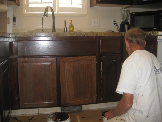 Cabinets Refinished To Match Countertops