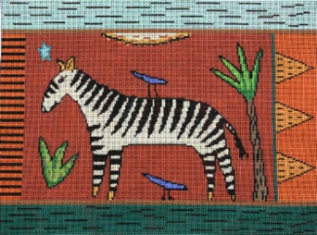 Animal Handpainted Needlepoint<BR>Zebra