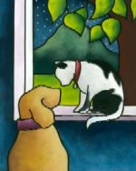 Cat and Dog handpainted needlepoint