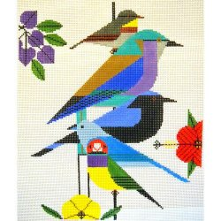 Charley Harper needlepoint Rainforest Birds