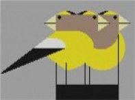 Charley Harper needlepoint Grosbeaks