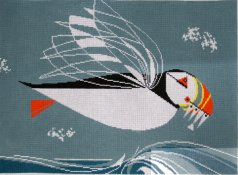 Charley Harper pillow - Puffin in Flight