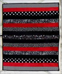 Adult Cuddle Strip Quilt Kit Black/ Red 60