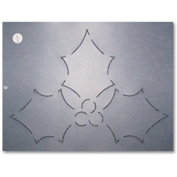 Quilting stencil Holly Leaves and Berries Stencil 8.5 inch Quilting stencil