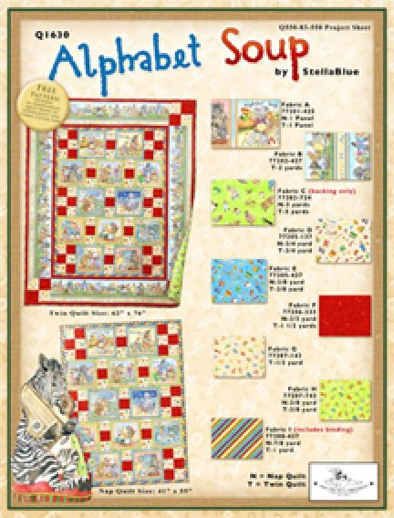 Alphabet Soup Twin Quilt 62x76 by Stella Blue for South Seas Imports Fabrics - K10517