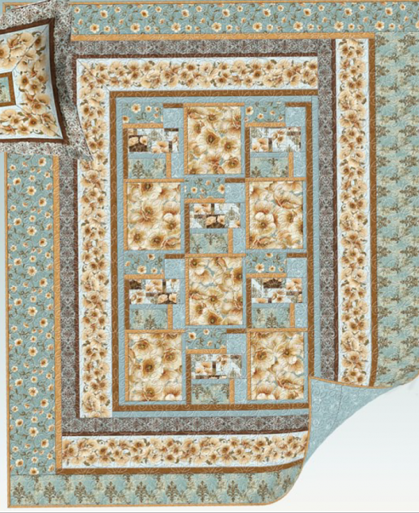 Windflower Quilt kit -Blue- for Wilmington Prints-Queen Size-82x100