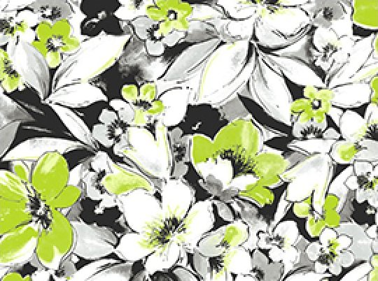 Fantasia Flowers - white/green/black (120037)