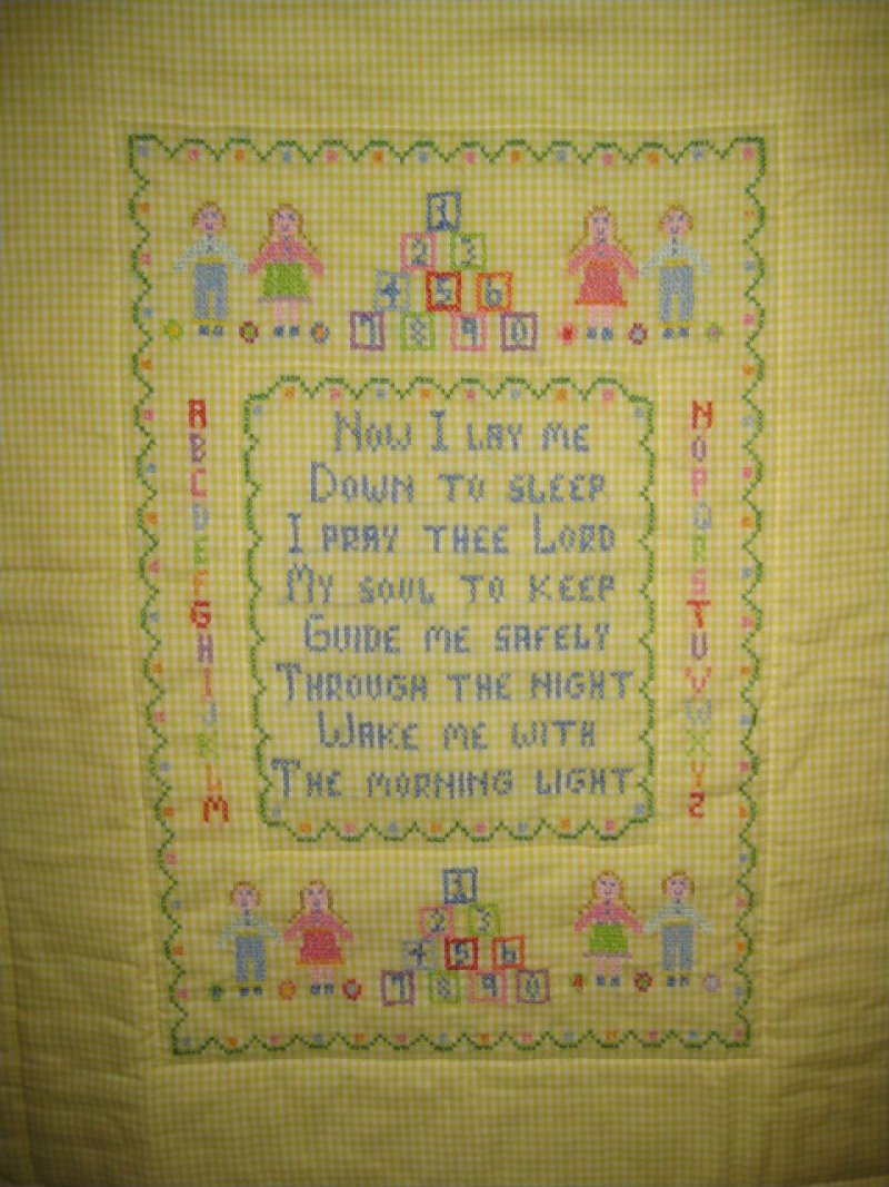 Now I Lay Me Down to Sleep - Hand Embroidered, Hand Quilted