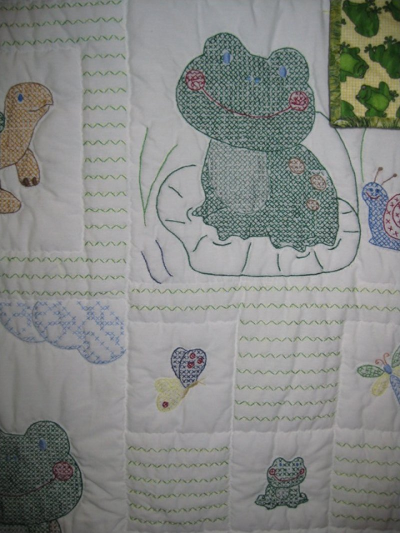 Frog and Turtles - hand embroidered, hand quilted