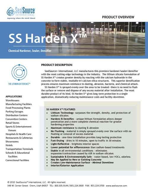 SS Harden X Concrete Hardener Overview