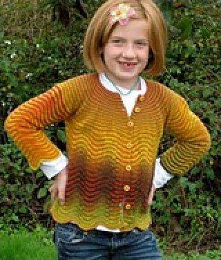 Cardigan, knitted in multicolor Kauni yarn