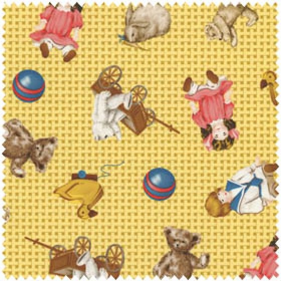 Precious Memories Toys on Yellow Check