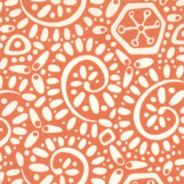Fandango Flannel - Canto Orange/White