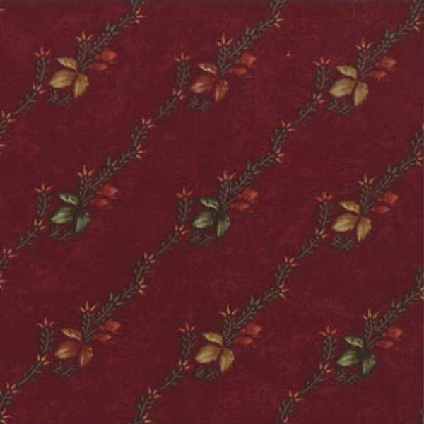 Cattails & Clover Floral Leaf Stripe on Burgundy