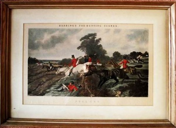 Full Cry Color Engraving by John Frederick, Sr. Plate 3 in series of four prints. Herring's Fox Hunting Scenes JF Herring Senr. London Published October 1867 by R. Dodson 147 Strand, Engraved by J. Harris