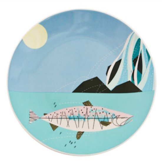 Charley harper fish and waterfall ceramic fish plate mid for Charley s fishing