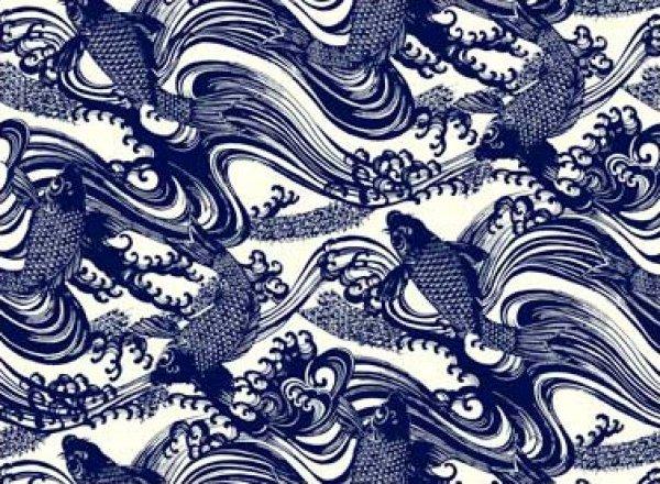 Katagami asia asian blue koi fish wave wood cut japan for Koi fish material