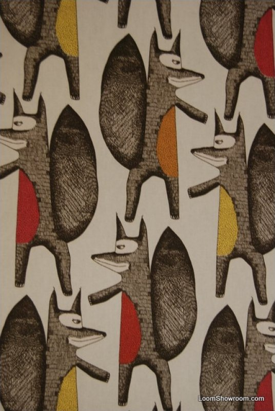 Fox retro modern scandinavian mid century modern design for Fox print fabric