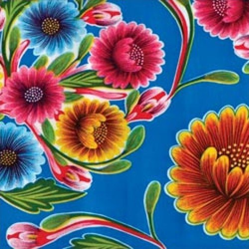 Oilcloth Bright Summer Blue Floral Mexico Print Vinyl
