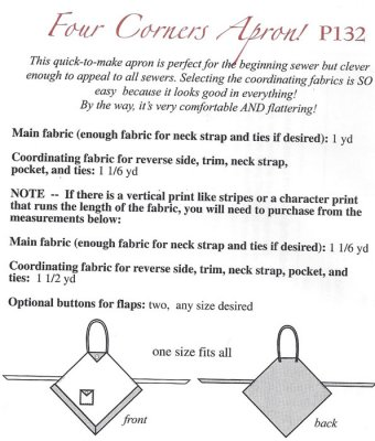 Four Corners Apron! Pattern | Pine Needles Quilt Shop LLC - Sewing