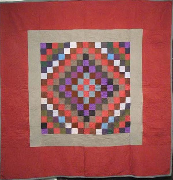 AMISH SUNSHINE AND SHADOW ANTIQUE QUILT, wool, red border