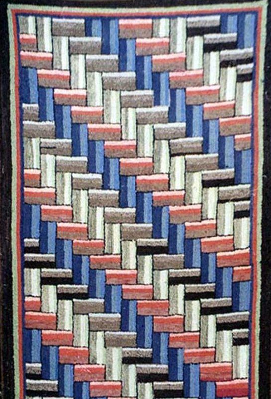 'INTERWOVEN' PATTERN ANTIQUE HOOKED RUNNER