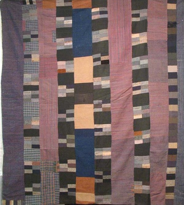 'BARS'  HOMESPUN  WOOL BLANKETS ANTIQUE QUILT