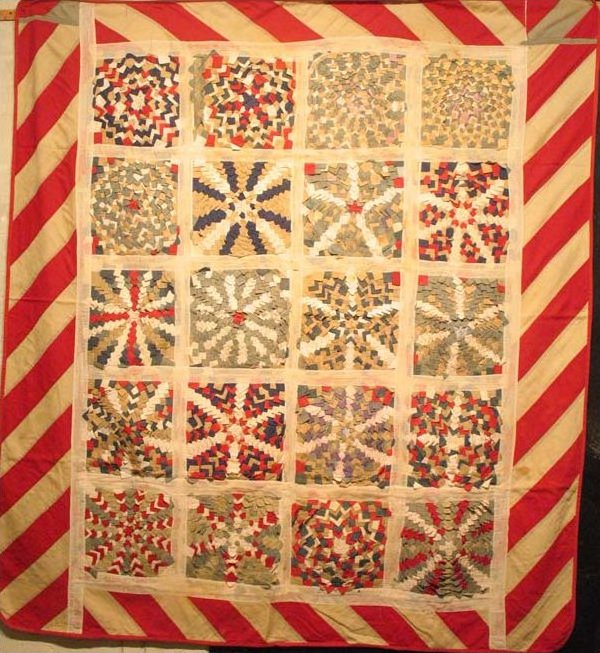 'TARGETS' PATRIOTIC ANTIQUE PIECED QUILT