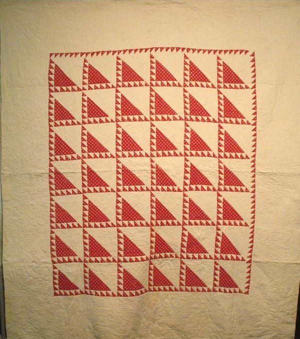LADY OF THE LAKE ANTIQUE QUILT red and white c.1845
