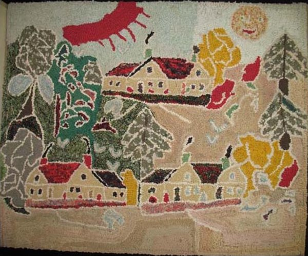 FOLKY HILLSIDE COMMUNITY LANDSCAPE ANTIQUE HOOKED RUG