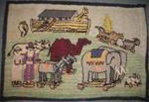 NOAH'S ARK VINTAGE HOOKED RUG of children's pull toys