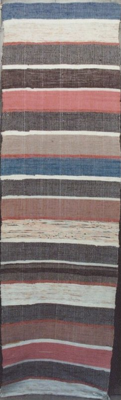 RAG CARPET ANTIQUE, BRIGHT MULTICOLORED BANDS