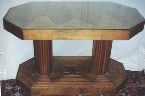 ANTIQUE PARQUETRY CONSOLE or CENTER TABLE, STARS MOTIFS