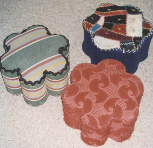 VINTAGE FOOTSTOOLS made of 7 tin cans in each