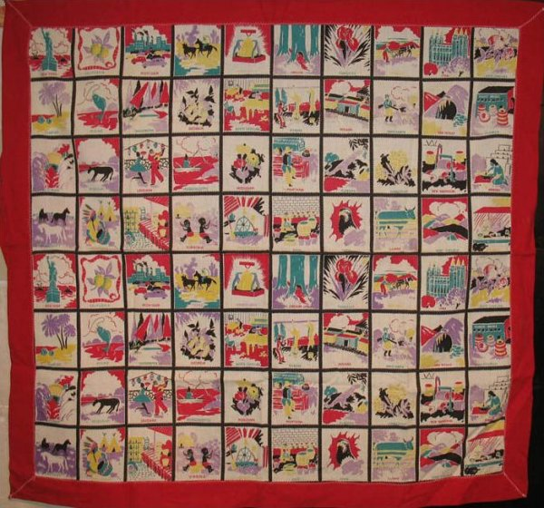 48 STATES 1950s TABLECLOTH