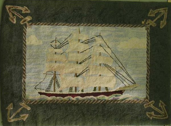 SAILING SHIP ANTIQUE HOOKED RUG